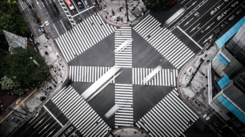 vídeos y material grabado en eventos de stock de t/l ws ha vista aérea de una travesía en ginza / tokyo, japón - cruzar