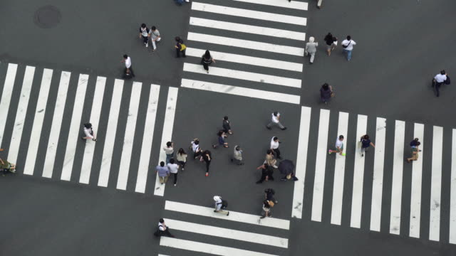 aerial view of a crossing in ginza - street stock videos & royalty-free footage