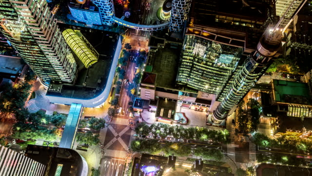 t/l ms ha aerial view of a crossroad / shanghai, china - zebra crossing stock videos & royalty-free footage