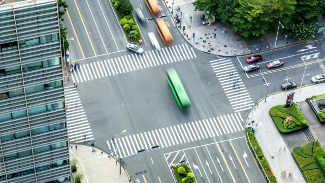 T/L LS HA ZO Aerial View of a Crossroad / Shenzhen, China