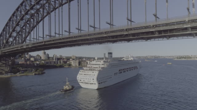 Aerial view of a cruise ship going under the Sydney Harbour Bridge. Sydney Australia