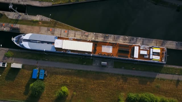 Aerial view of a cruise ship in lock, Saar River near Kanzem-Hamm, Saar Valley, Rhineland-Palatinate, Germany, Europe