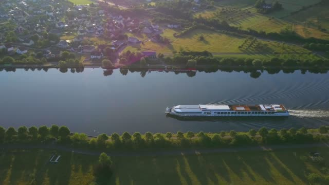 aerial view of a cruise ship on saar river near schoden, saar valley near saarburg, rhineland-palatinate, germany, europe - cruise ship stock videos & royalty-free footage