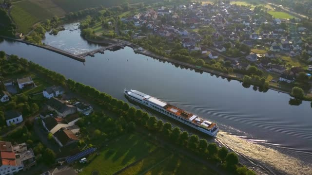 Aerial view of a cruise ship on Saar River near Schoden, Saar Valley near Saarburg, Rhineland-Palatinate, Germany, Europe