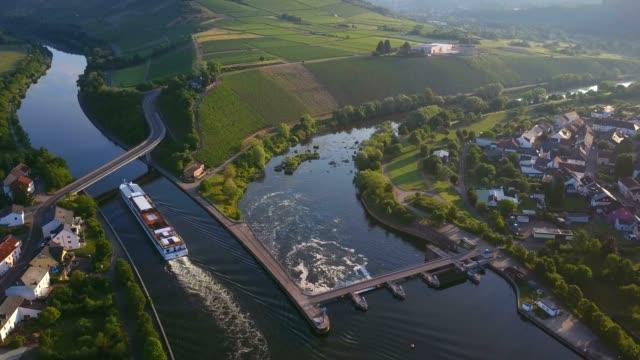 Aerial view of a cruise ship on Saar River near Schoden, Saar Valley near Saarburg, Rhineland-Palatinate, Germany, Europe