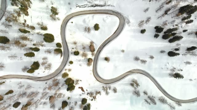 Aerial view of a curvy mountain road leading to the mountain pass in the European Alps