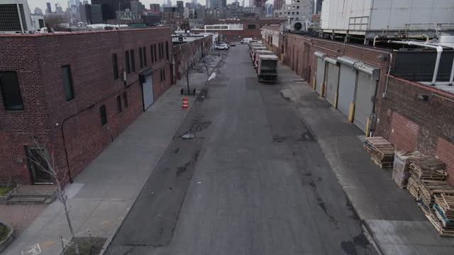 aerial view of a deserted brooklyn side street - establishing shot stock videos & royalty-free footage