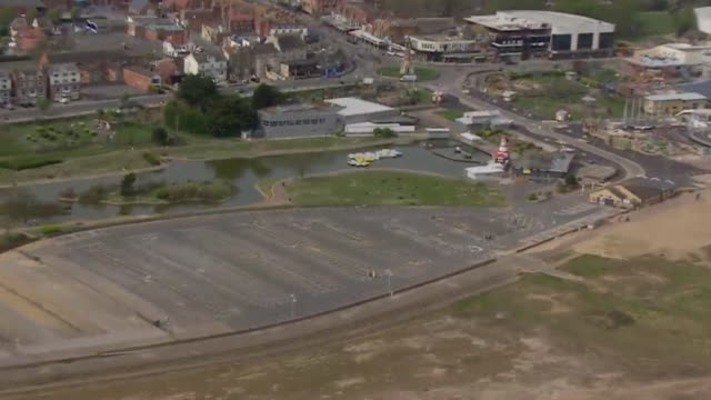 aerial view of a deserted skegness during the coronavirus lockdown - travel destinations stock videos & royalty-free footage