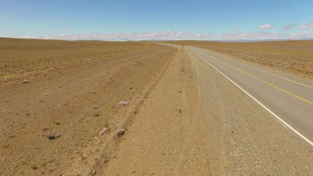 Aerial view of a empty road at Patagonia, Argentina