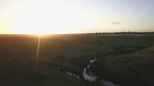aerial view of a farm at sunset in victoria, australia - victoria australia stock videos & royalty-free footage