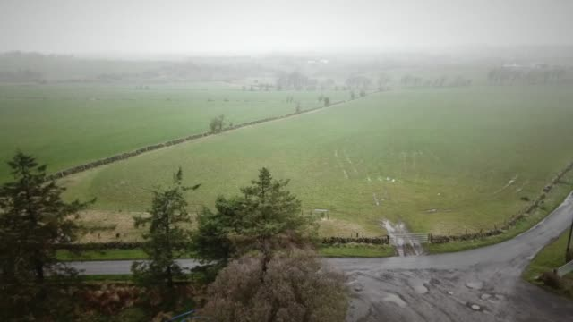 aerial view of a farm in scotland - field stock videos & royalty-free footage