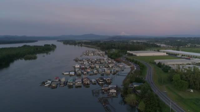 aerial view of a floating home community - fatcamera stock videos & royalty-free footage