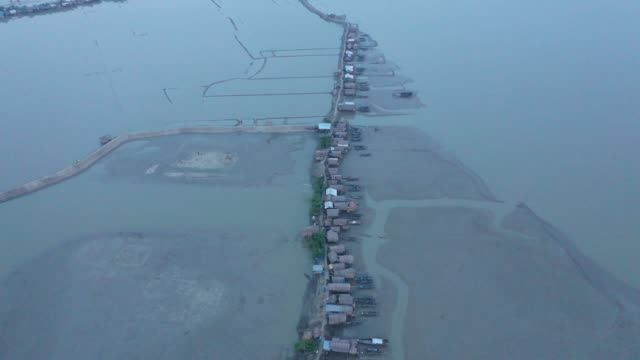 aerial view of a flooded area in the coast of dhaka bangladesh on november 15 - coastal feature stock videos & royalty-free footage