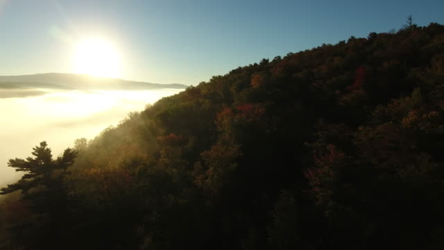 aerial view of a foggy lake in fall colours. orford, new hampshire. usa - new hampshire stock-videos und b-roll-filmmaterial