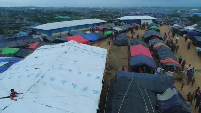 Aerial view of a giant Rohingya refugee camp in Teknaf Bangladesh