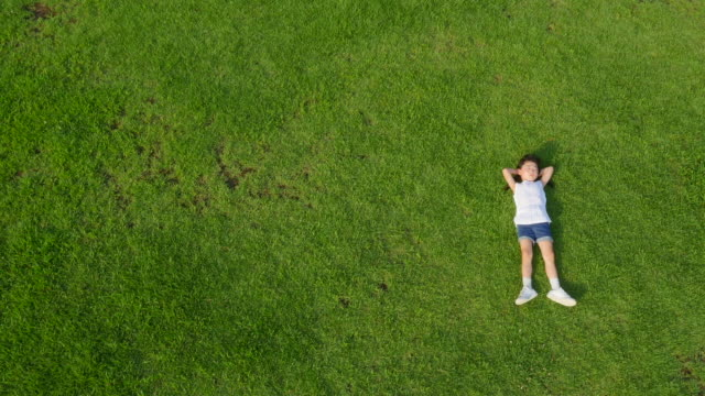 aerial view of a girl lying on lawn in summer at seoulforest (the third largest park in seoul city) - 仰向きに寝る点の映像素材/bロール