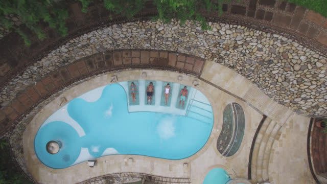 Aerial view of a group of people relaxing at the pool