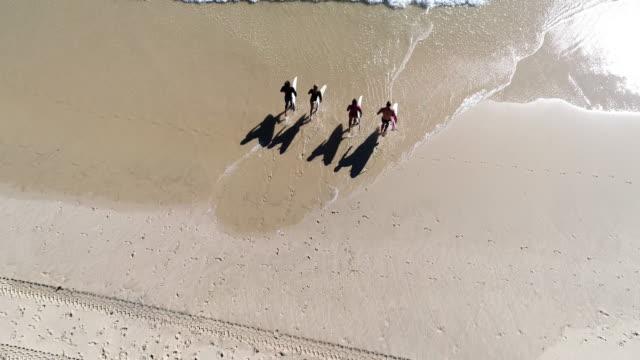 luftaufnahme von einer gruppe von surfern, die ins meer - surfbrett stock-videos und b-roll-filmmaterial