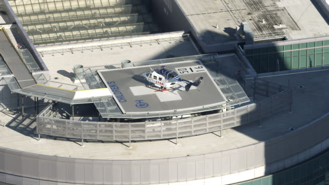 Aerial view of a helicopter on the helicopter pad of Children's Hospital of Philadelphia. Shot in 2011.