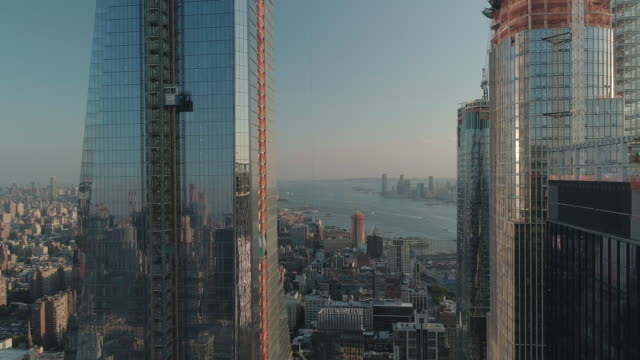 aerial view of a high rise construction site in the west side of new york city. usa. - upper west side manhattan stock videos and b-roll footage