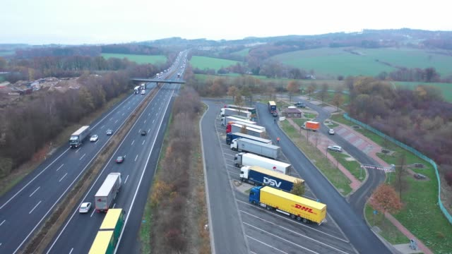 aerial view of a highway in germany - truck stock videos & royalty-free footage