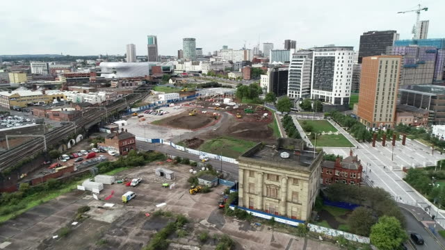 aerial view of a hs2 construction site at curzon street in birmingham - rail transportation stock videos & royalty-free footage
