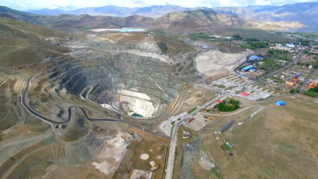 aerial view of a huge mining pit,xinjiang,china. - mineral stock videos & royalty-free footage