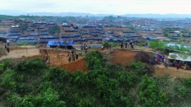 Aerial view of a huge Rohingya refugee camp in Teknaf Bangladesh