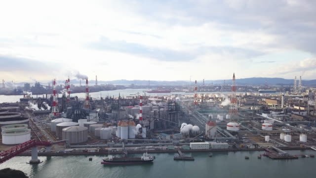 aerial view of a japanese petrochemical plant - contrasts stock videos and b-roll footage