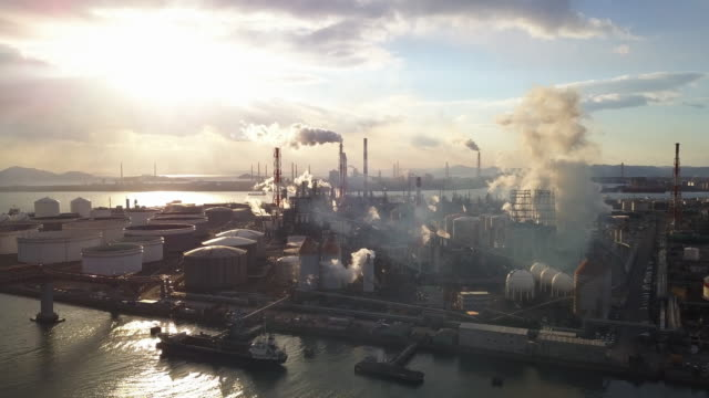 aerial view of a japanese petrochemical plant - air pollution stock videos and b-roll footage