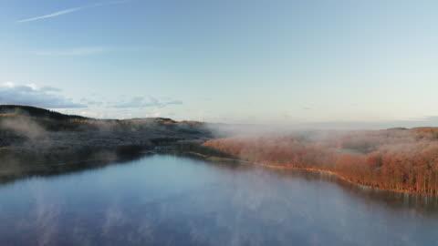 luftaufnahme einer seen- und waldlandschaft in schweden - autumn stock-videos und b-roll-filmmaterial