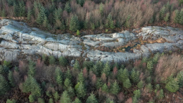 aerial view of a large outcrop of granite in an area of scottish forest in dumfries and galloway - granite rock stock videos & royalty-free footage