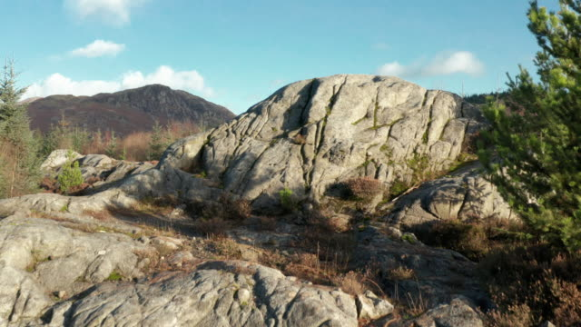 stockvideo's en b-roll-footage met luchtfoto van een grote uitsnede van graniet in een gebied van het schotse bos in dumfries en galloway - graniet