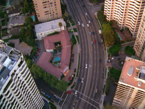 aerial view of a los angeles boulevard. - artbeats stock videos & royalty-free footage