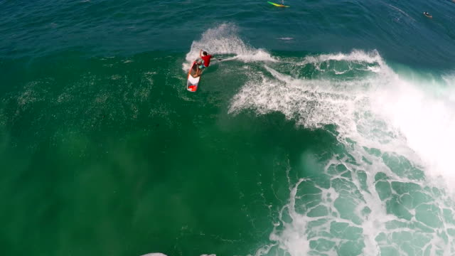 aerial view of a man sup stand-up paddleboard surfing in hawaii. - goodsportvideo stock videos and b-roll footage