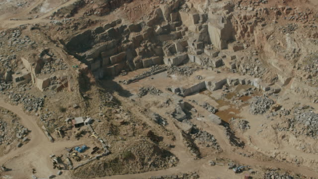 aerial view of a marble quarry - marmo roccia video stock e b–roll