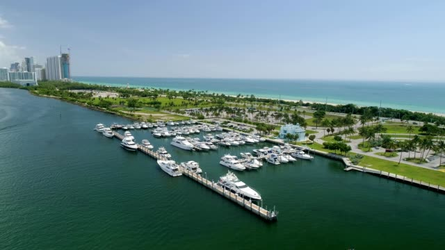 Aerial view of a marina on the bay side of Miami Beach Florida