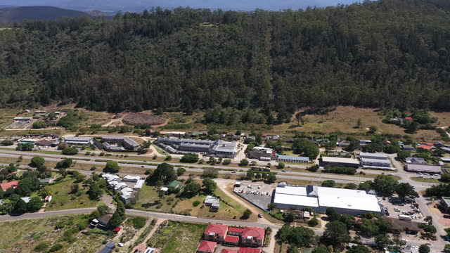 aerial view of a national road through a small town along the south african coast. - western cape province stock videos & royalty-free footage