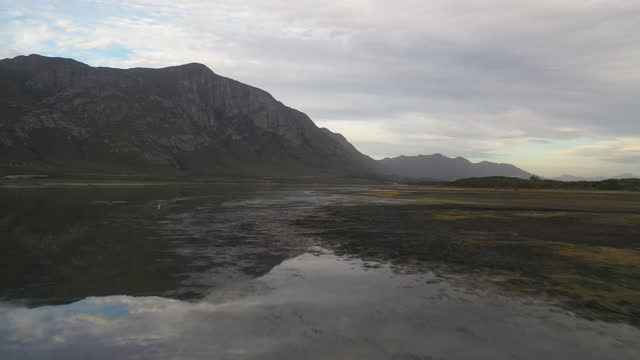 aerial view of a natural wetland with birds - hermanus stock videos & royalty-free footage