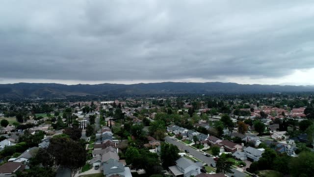 aerial view of a neighborhood in simi valley california - ventura stock videos and b-roll footage