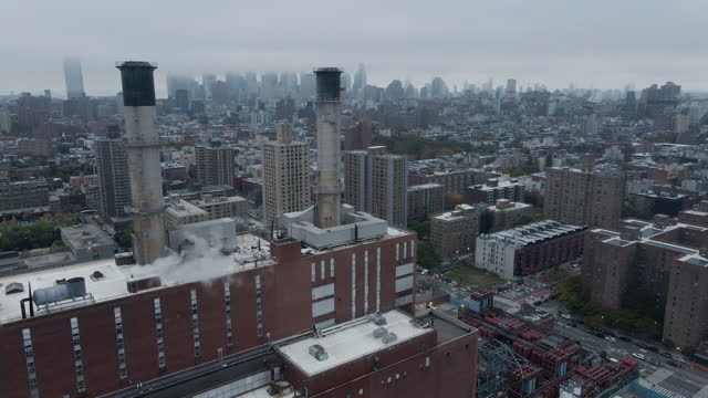 aerial view of a new york city factory on a cloud day - manhattan new york city stock videos & royalty-free footage