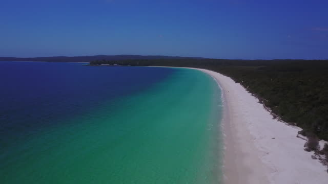 4K Aerial view of a paradisiac beach, Hyams Beach, Jervis Bay, Australia