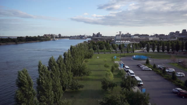 Aerial view of a park on the St. Lawrence shore