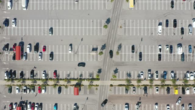 aerial view of a parking lot - parking stock videos & royalty-free footage