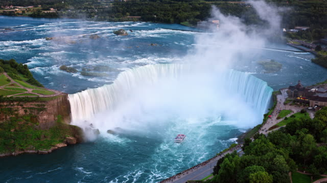 t/l aerial view of a passenger boat approaching horseshoe falls - niagara falls stock videos & royalty-free footage