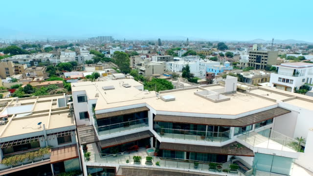 aerial view of a peruvian cityscape - lima peru stock videos and b-roll footage