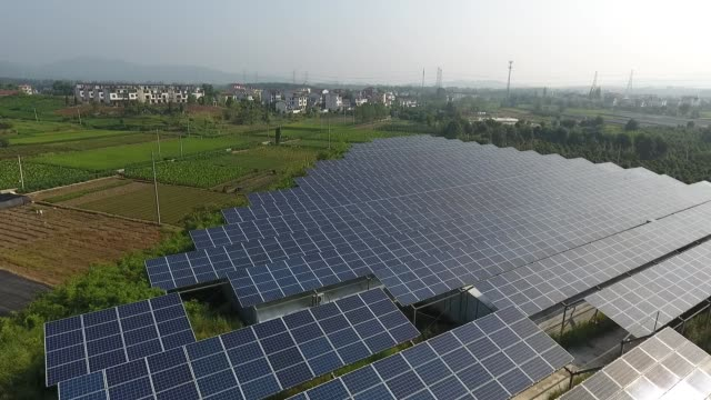 aerial view of a photovoltaic agricultural technology park on september 3 in jinhua, zhejiang province of china. - sustainable energy stock videos & royalty-free footage