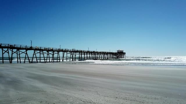 aerial view of a pier at atlantic beach north carolina - atlantic beach north carolina stock videos & royalty-free footage
