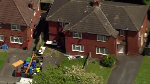 Aerial view of a police raid on a property used by suspected associates of Manchester Arena bomber Salman Abedi