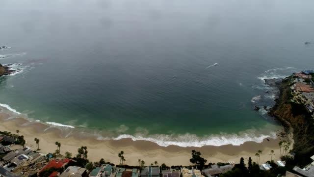 aerial view of a private beach in laguna beach california - laguna beach california stock videos & royalty-free footage